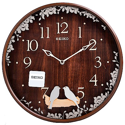SEIKO 精工 搖動鳥擺飾 滑動式秒針 靜音 時鐘 掛鐘(QXC237B)-33cm