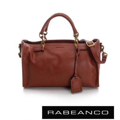 RABEANCO-真牛皮革手提肩背長方包-深咖