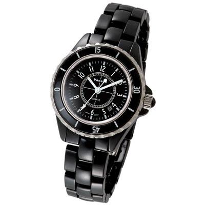 【Vaness】優雅都會時尚陶瓷錶(黑/35mm)