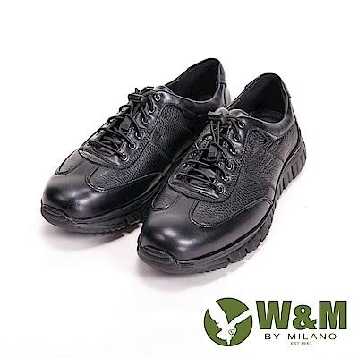 【W&M】寬楦懶人系列 彈性鬆緊帶休閒 男鞋-黑(另有咖)