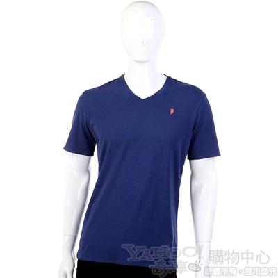 TRUSSARDI-JEANS 深藍色品牌圖幟V領短袖上衣