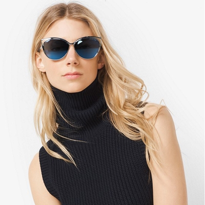 MICHAEL KORS太陽眼鏡 歐美貓眼款/銀-水銀藍#MK1020 116755