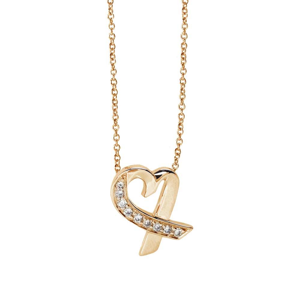 TIFFANY&Co.Loving Heart系列18K金X真鑽心形吊墜項鍊金
