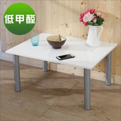 BuyJM鏡面白低甲醛鐵腳茶几桌/和室桌(80*60公分)-DIY