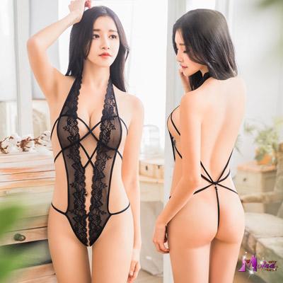 情趣睡衣 誘惑黑色網紗繞頸式情趣連身衣(黑F) Moira