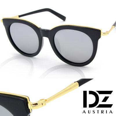 【2件59折】DZ 玩美眉框 抗UV 偏光太陽眼鏡墨鏡(黑框水銀模)