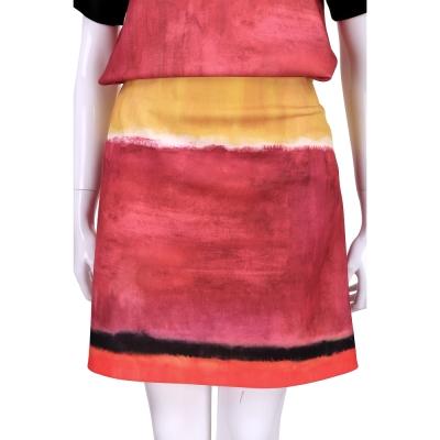 ALBERTA FERRETTI 紅x黃色渲染刷色及膝裙