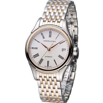 HAMILTON 漢米爾頓 美國經典鐵路小秒盤機械腕錶-銀白x玫瑰金/34mm