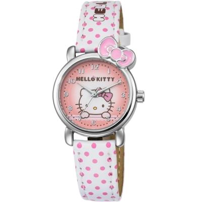 HELLO KITTY 凱蒂貓嬌滴圓點蝴蝶結手錶-白x粉紅/27mm