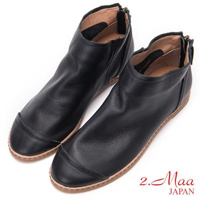 2.Maa - 極簡素面牛皮內增高踝靴 - 黑