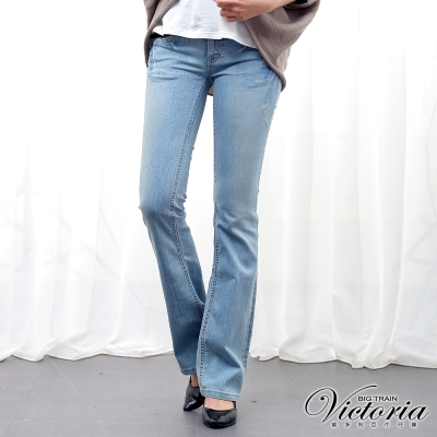 Victoria 低腰鉚釘靴型褲-女-淺藍