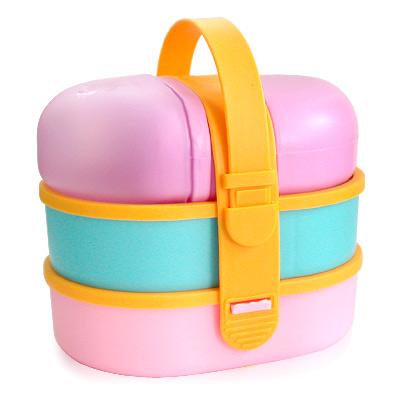 【iSFun】兒童專用*附小水壺三層便當盒/隨機色