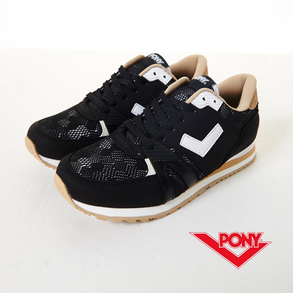 【PONY】SOLA-T3  復古新時尚慢跑鞋-黑(女)