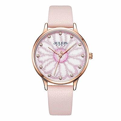 JULIUS聚利時 花樣年華簡約時尚腕錶-浪漫粉/36mm