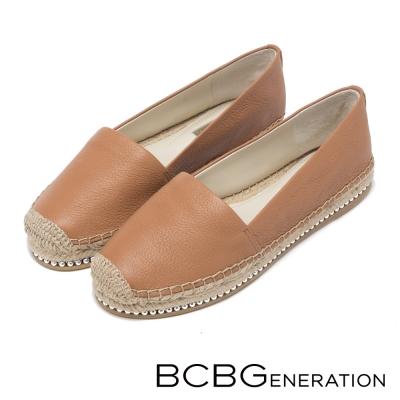 BCBGeneration-金屬珠草編平底鞋-棕色