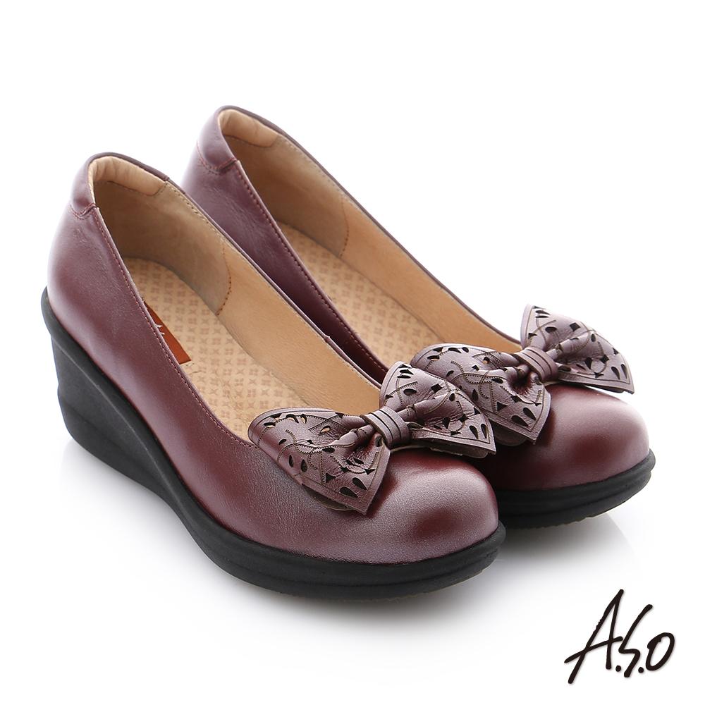 A.S.O 紓壓氣墊 真皮蝴蝶結飾釦楔型休閒鞋 酒紅色