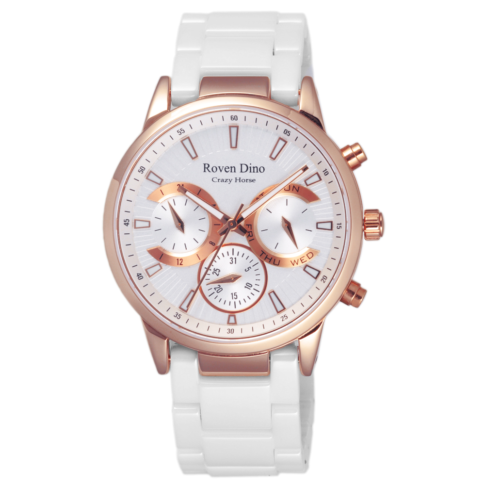 Roven Dino羅梵迪諾  頂上尊爵三眼陶瓷腕錶-RD6061W-436W/40mm