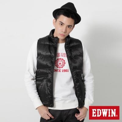 EDWIN雙口袋立領羽絨背心-男-黑色