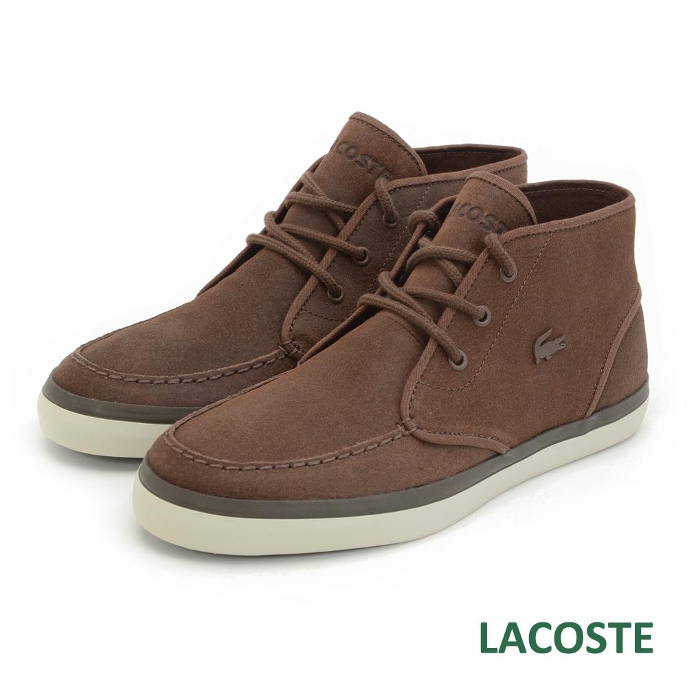 LACOSTE 男用麂皮中筒休閒鞋-棕色