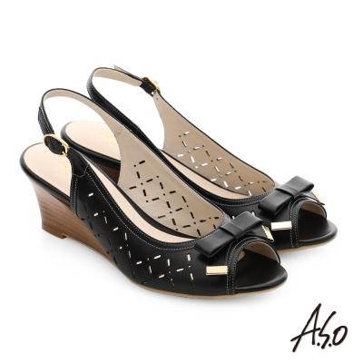 A.S.O 南法香頌 真皮菱格紋蝴蝶結楔型魚口涼鞋 黑色