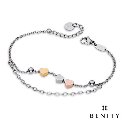 BENITY 守護心願 316白鋼/西德鋼 雙鍊 愛心串珠 女手鍊