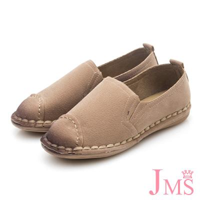 JMS-文藝質感滾邊細絨平底休閒鞋-卡其色