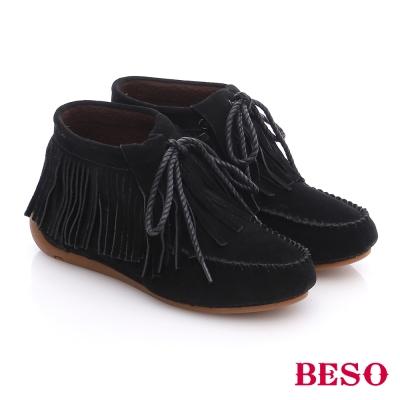 BESO-潮人街頭風-絨面牛皮綁帶流蘇短靴-黑色