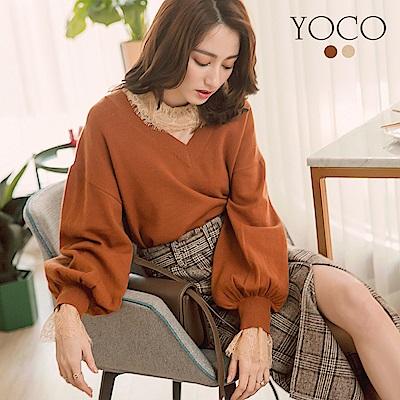 東京著衣-yoco 經典必備V領前短後長澎澎袖針織衫-S.M.L(共二色)