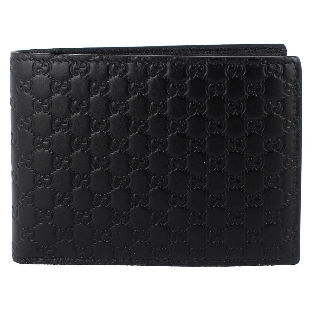 GUCCI Guccissima 黑色厚質真皮壓紋小雙G短夾(大/6卡) @ Yahoo 購物