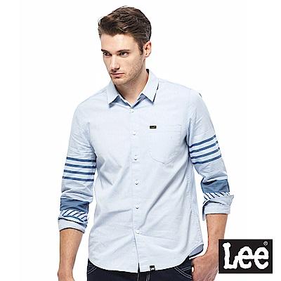 Lee 休閒長袖襯衫-男款-藍