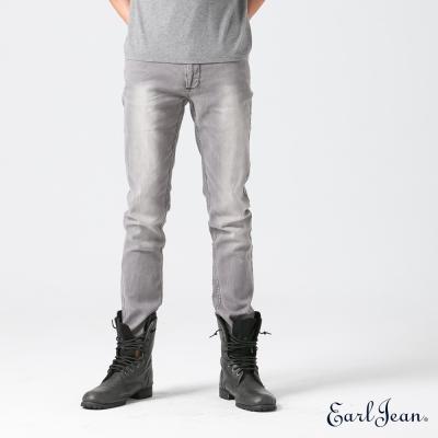 Earl Jean 闇銀十字皮革低腰緊身窄管寧特褲-淺灰-男