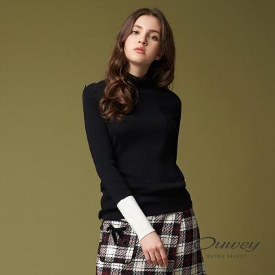 OUWEY歐薇 率性高領針織上衣(黑)