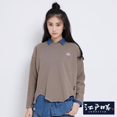 EDWIN EDOKATSU江戶勝後染徽章長袖T恤-女-褐色