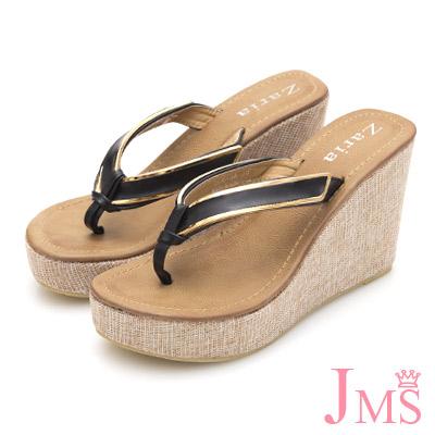 JMS-高質感素雅滾金邊夾腳厚底楔型涼拖-黑色