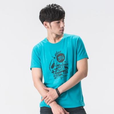 【SNOWFOX 雪狐】新銳插畫家劉經瑋聯名圖T恤/男款短袖 AT-81626 藍