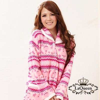 睡衣   甜美星星珊瑚絨套裝睡袍-粉 La Queen