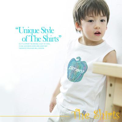 【The Shirts】蠟筆塗鴉蘋果T恤背心 (白色)
