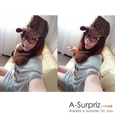A-Surpriz 前衛豹紋皮草棒球帽(咖底)