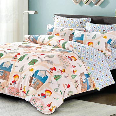 Grace Life 童話世界 精梳純棉加大涼被床包四件組