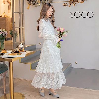 東京著衣-yoco 法式宮廷風細緻蕾絲層次蛋糕裙洋裝-S.M.L(共一色)