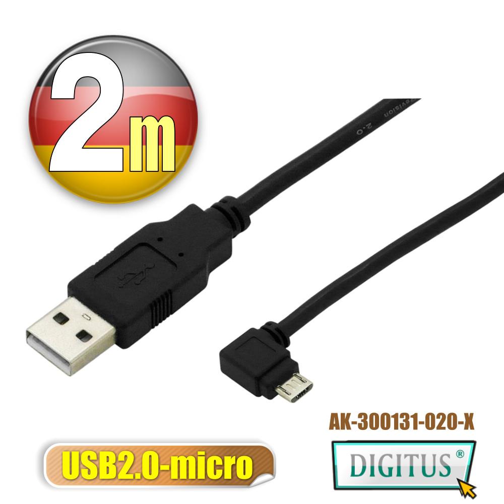 曜兆DIGITUS USB2.0轉microUSB左轉接頭線*2公尺線