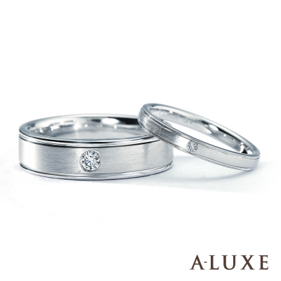 A-LUXE 亞立詩鑽石  18 K金情侶結婚對戒-男女對戒