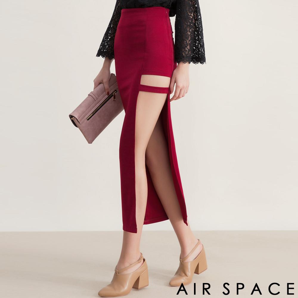 AIR SPACE性感鏤空不對稱繫帶高腰長裙酒紅