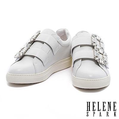 休閒鞋 HELENE SPARK 簡約優雅水鑽飾釦點綴全真皮厚底休閒鞋-白