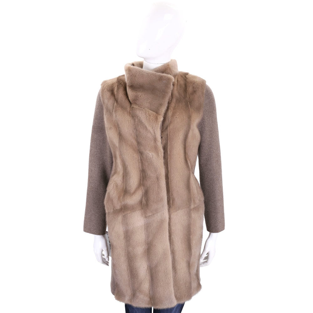 GRANDI furs 駝色針織拼接皮草外套(70%WOOL)