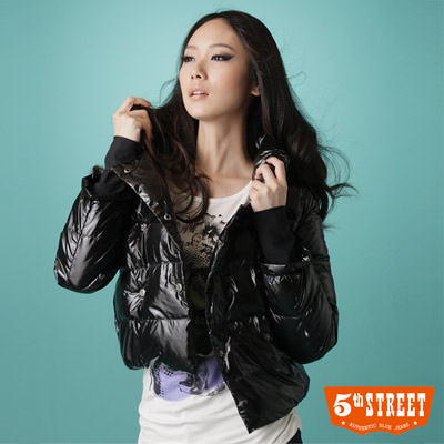 5th STREET海軍短版羽絨外套-女款黑色
