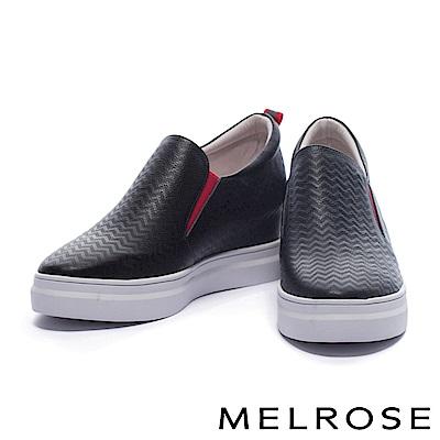 休閒鞋 MELROSE 獨特撞色設計鋸齒壓紋牛皮厚底休閒鞋-黑