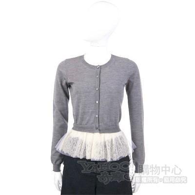 VALENTINO 灰色蕾絲拼接設計上衣