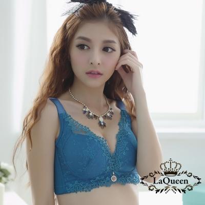 內衣  雅致蕾絲無鋼圈成套內衣-藍 La Queen