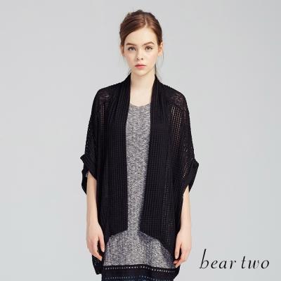beartwo 百搭微透傘襬針織罩衫(黑色)-動態show